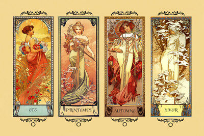 Mucha Four Seasons Winter Spring Summer Autumn Gorgeous Poster Repro FREE SHIP