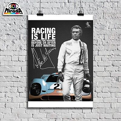 Poster  Locandina Steve Mc Queen Film Movie Racing Is Life Gulf Le Mans Auto