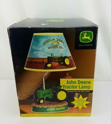 Super Cool John Deere Tractor Animated Desk Lamp & Shade! NEW