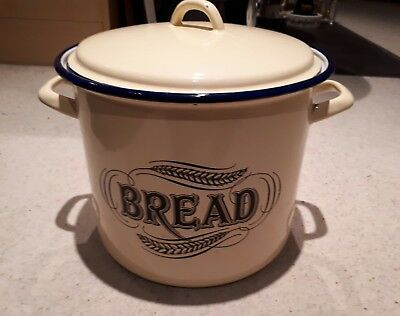 Tala 1899 - Metal Bread Bin with Lid - Pale Yellow/Blue - Excellent Condition