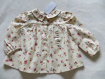 BNWT Girls Ralph Lauren Cream Pink Floral Long Sleeve Blouse Shirt Age 12mnths