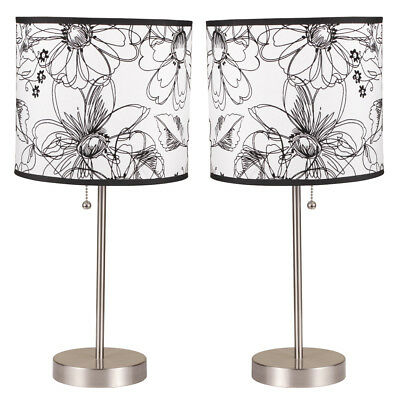 Set of 2 Accent Table Lamps Lighting Floral Black White Shade Silver Metal Base