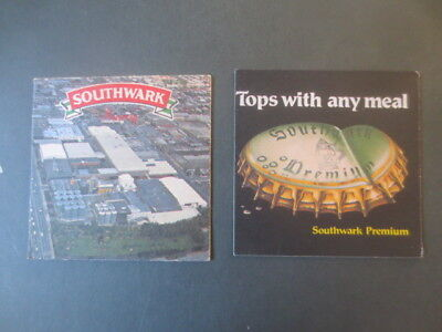 """2  SOUTHWALK Beer / Brewery """"square cut"""", collectable  COASTERS  1980,s"""