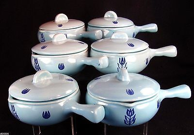 Cronin Blue Tulip Individual French Casseroles Set of 6 with Lids Stick Handles
