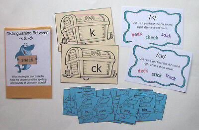 Teacher Made Literacy Center Game Learning Resource Game Digraph -ck Sort