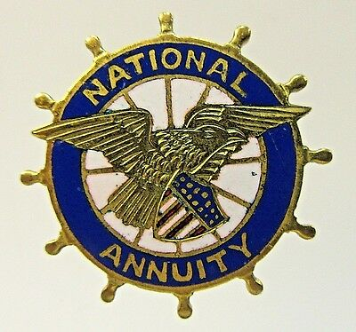 early vintage NATIONAL ANNUITY enamel inlay pinback button +