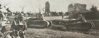 WWI RPPC AMERICAN Tanks Doughboys On The Move ACTION Photo Postcard