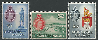 Singapore QEII 1955 high values $1, $2, & $5 unmounted mint NH