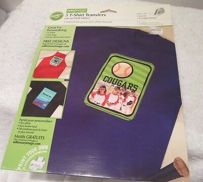 Wilton T Shirt Transfer For Dark Fabric Package Of 5 Sheets Ink Jet Printers