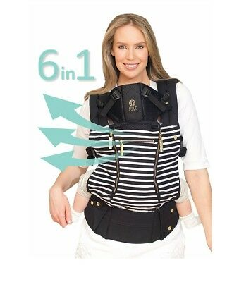 LilleBaby Complete 6 in 1 BABY CARRIER - Black with White - Free shipping