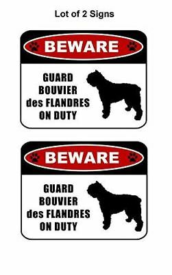"""2 count """"Beware Guard Bouvier Des Flandres (silhouette) on Duty"""" Dog Sign"""