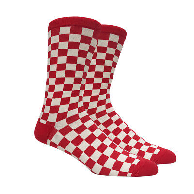 a67ace6f3201 Mens Red and Off White Checkered Socks Checkerboard Checker Classic - 1 Pair