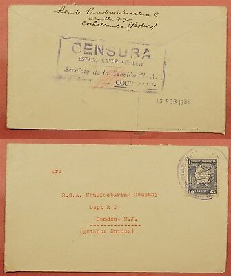 1936 Bolivia Chaco War Censored Single Franked Cover To Usa