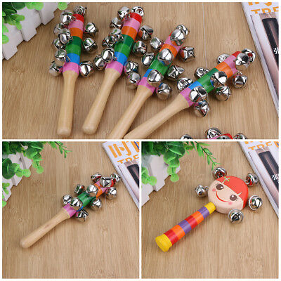 Kids Musical Developmental Instrument Toy Wooden Hand Jingle Ring Bell Baby Gift