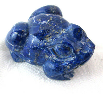 "Frog Lapis Toad Miniature Hand Carved Figurine Blue Stone Natural 2.25"" long"