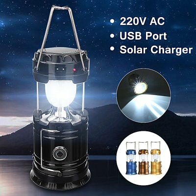 Solar Power Camping Hiking LED Lantern Rechargeable Tent Hanging Light Lamp USB