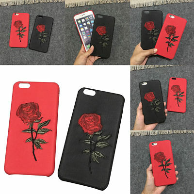 Women Girl Embroidery Rose Flower Phone Case Cover Skin for iPhone 6 6s 7 7 Plus