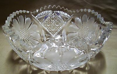 Antique American Brilliant Crystal Cut Glass Bowl Daisy Excellent Con