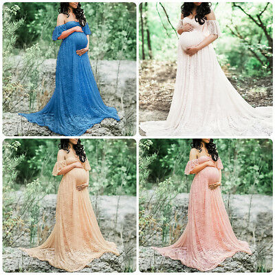 Pregnant Womens Off Shoulder Lace Maxi Dress Gown Maternity Photography Props