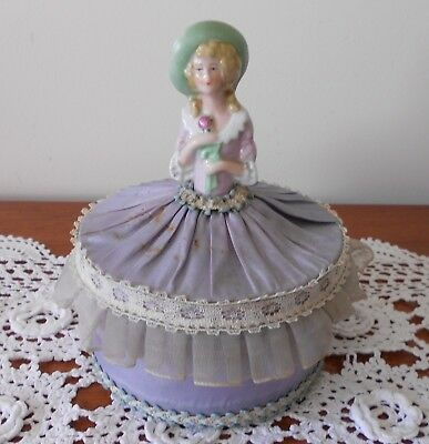 Vintage Porcelain Half Doll Sitting Atop Fabric Covered Blue Lucite Lidded Box