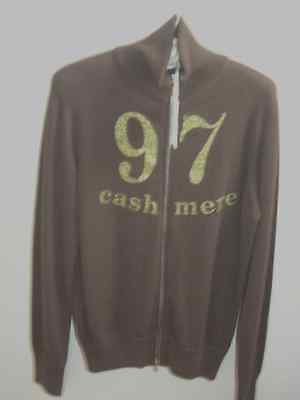 9&7 Cashmere chocolate brown zipped sweater cardigan, made in Italy
