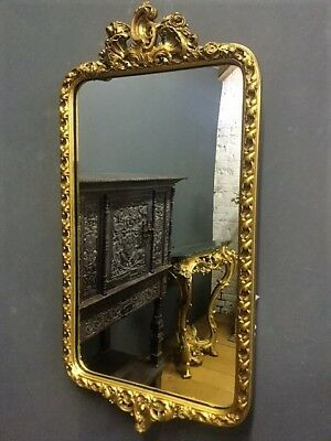 Original Vintage Gilt Gold Ornate French Style Oblong Wall Mirror