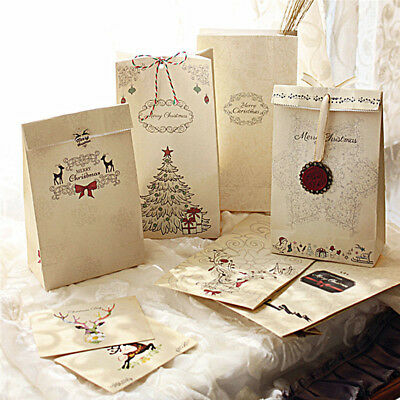 8pcs/set Kraft Paper Bag Merry Christmas Gift Bags Wedding Packaging 22x12x6cm