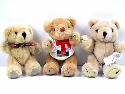 "3 x Articulated Teddy Bears Plush Soft Toys 5"" Tall"