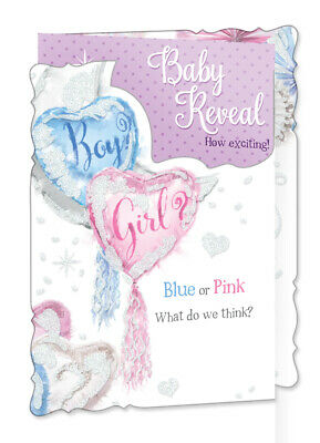"""Baby Shower Greetings Card - Fluffy Lamb, Presents, Balloons & Streamers 9"""" x 6"""""""