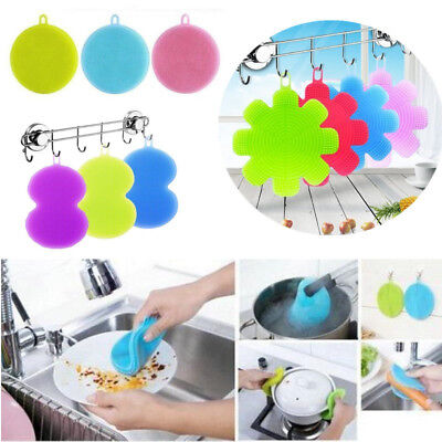Multifunction Antibacterial Silicone Smart Sponge Cleaning Dish Kitchen Tools AU