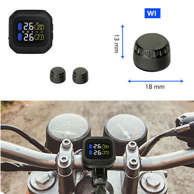 Motorcycle TPMS Tire Pressure Monitoring System with Wireless LCD Display/Sensor