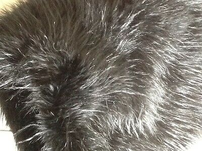BLACK FAUX FUR - 54cm X 104cm - WHISPY PILE OF UP TO 3 INCHES