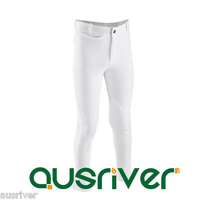 Kids Jodhpurs Breeches White Self Seat Knee Patch Show Breeches Junior 6-14yrs