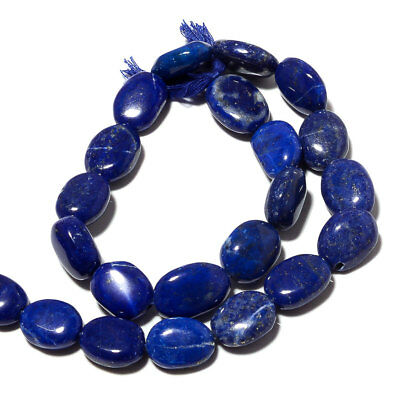 Natural Lapis Lazuli Smooth Oval Beads/13mm To 15mm Beads/14 Inch Strand, SS103