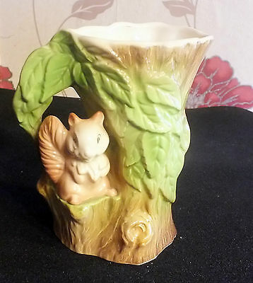 Eastgate Pottery Withernsea Fauna Tree Shaped Vase with Squirrel collectable