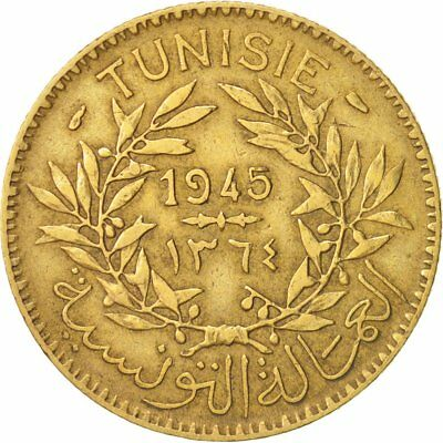 [#93735] Tunisia, Anonymous, 2 Francs, 1945, Paris, BB, Alluminio-bronzo, KM:248