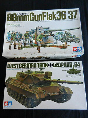 TAMIYA German Tank Model Kits - 88mm GunFlak 36/37 & Leopard A4