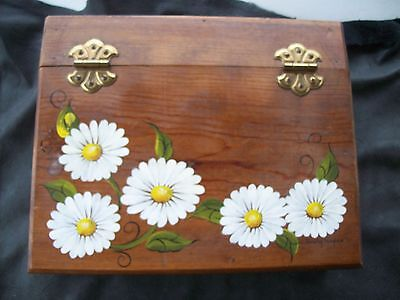 Handcrafted Wood Tole Ware Letter Writing Desk W/decorative Hinges/flowers