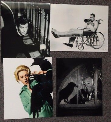 """LOT OF 4 10""""x8"""" GLOSSY PHOTO REPRINTS FEATURING ALFRED HITCHCOCK FILMS"""