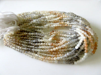 Natural Peach White Grey Multi Moonstone 5mm Smooth Round/13.5 Inch Strand GDS65