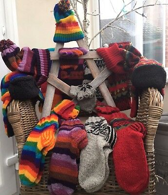 Warm Thick Wool Hand Knit Winter Socks Snoods Hats Gloves Nepal Gypsy Hippy DL
