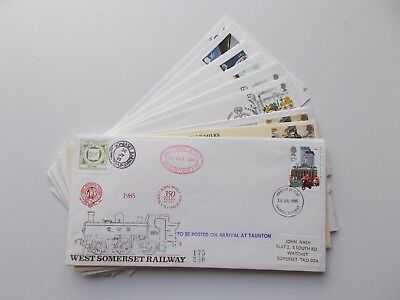 12 x assorted private railway letter stamp philatelic covers. See pics below.