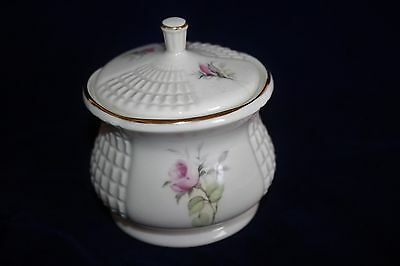 Donegal Parian China Lidded Jar With Pink Rose Decoration