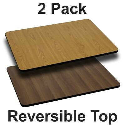2 Pk. 30'' x 42'' Rectangular Table Top with Natural or Walnut Reversible...