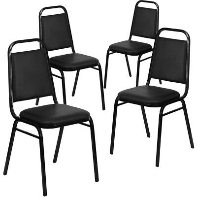 4 Pk. HERCULES Series Trapezoidal Back Stacking Banquet Chair with Black...