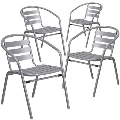 4 Pk. Silver Metal Restaurant Stack Chair with Aluminum Slats
