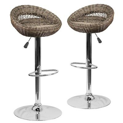 2 Pk. Contemporary Wicker Rounded Back Adjustable Height Barstool with...