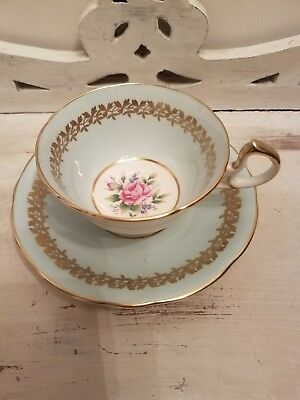 Aynsley tea cup and saucer soft blue gold leaf edge pink rose