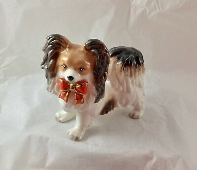 Porcelain  Christmas ornament - Brown and white papillon