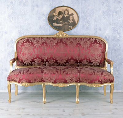 Giant Sofa Rococo Style Bench Royal Sofa Wood Baroque French Louis Xv Carved